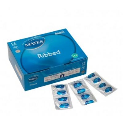 Mates Ribbed Extra Safe Condoms ( 12 Pack )